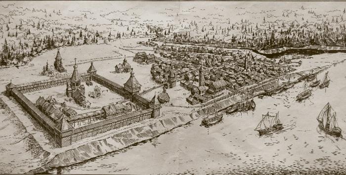 Мангазея (реконструкция по раскопкам М.Белова). /Фото:wikimedia.org