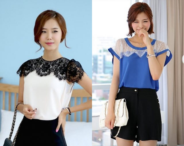 Женственное кружево: 37 идей декора для блузок и рубашек