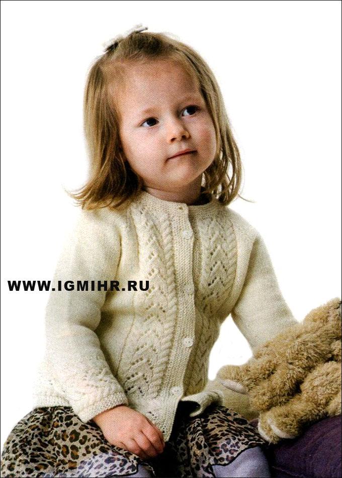 Белый жакет с ажурным узором для девочки 1-8 лет,  от финских дизайнеров.