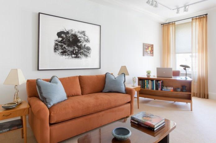 оранжевый тюль в гостиной