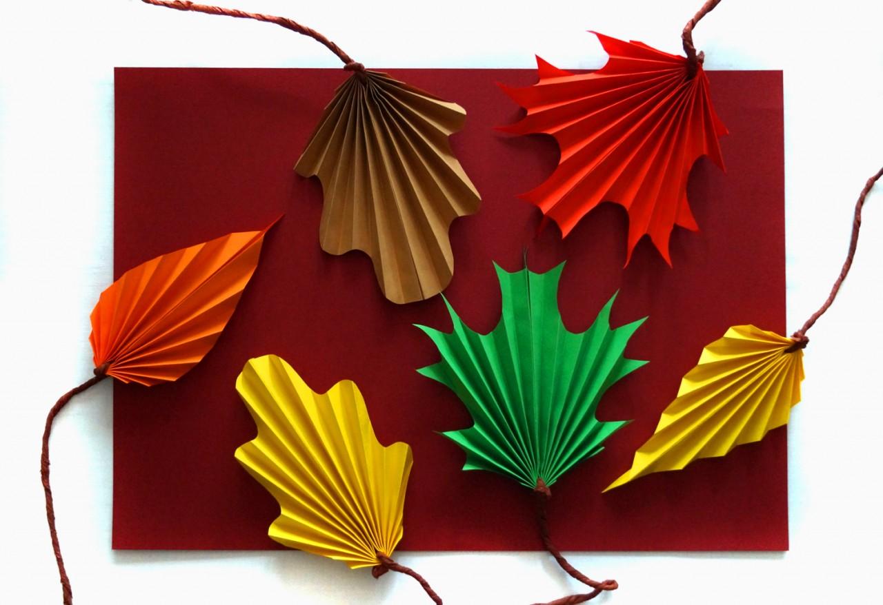 Осенние украшения из бумаги. Оригинальные листья
