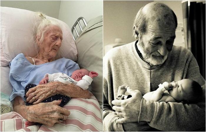 25 трогательных фото бабушек и дедушек, которые перед уходом успели увидеть своих внуков
