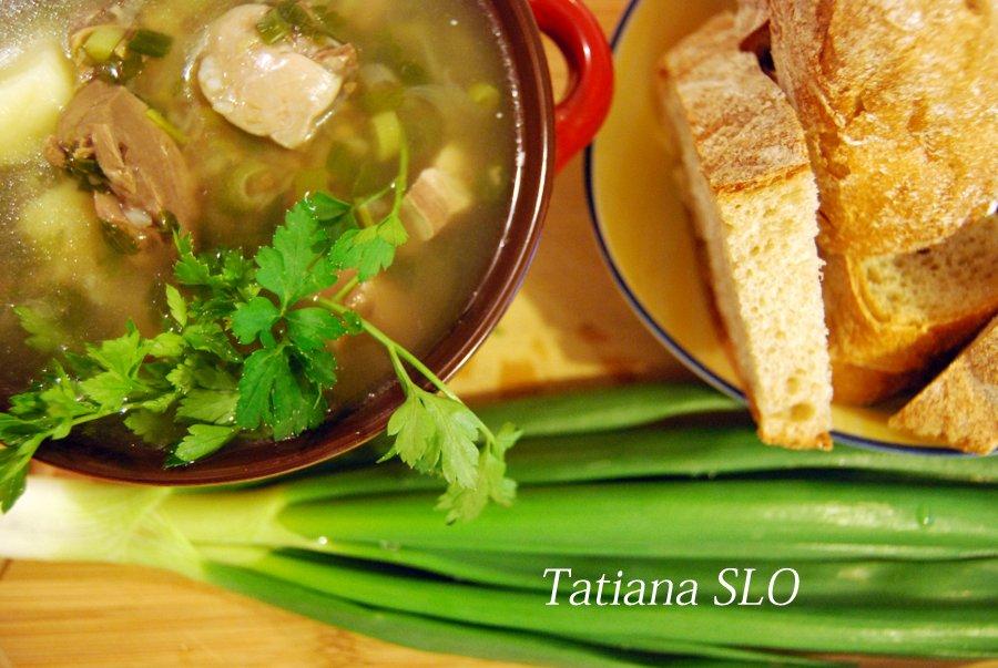 Гречневый суп на бульоне из свиного сердца.