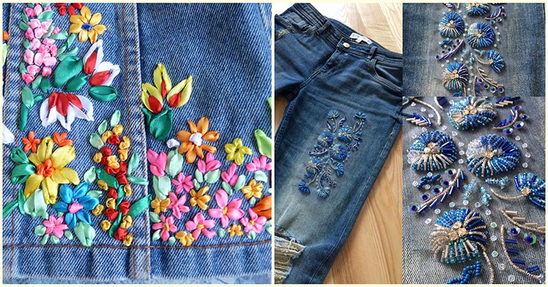 Вернём немного лета в осень. Яркая вышивка на джинсовой ткани