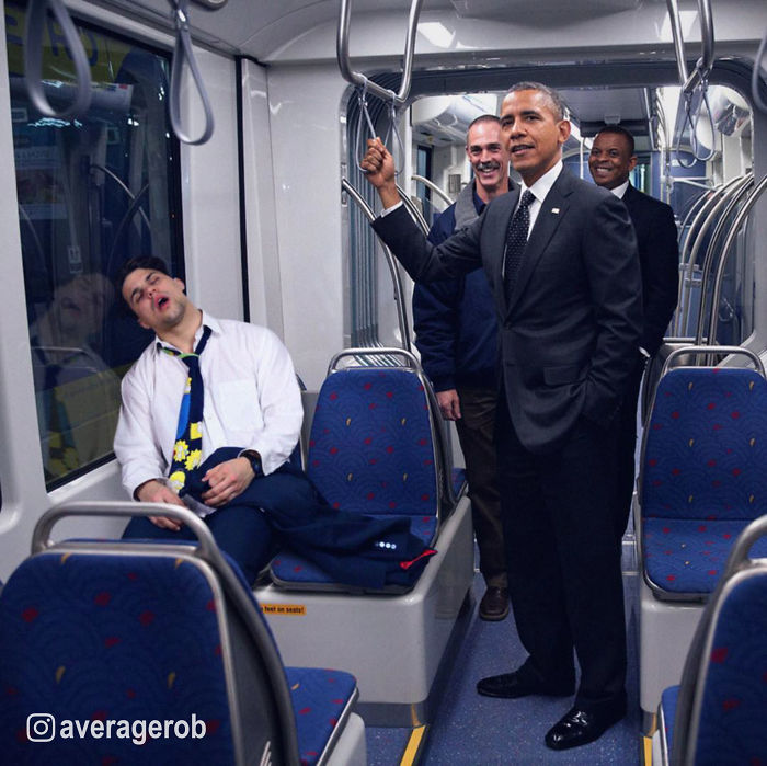 With Obama And His Squad On The Subway Back Home