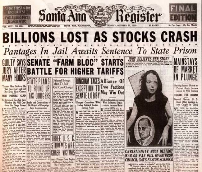 an analysis of the crash of the market in 1987 and the issues of great depression