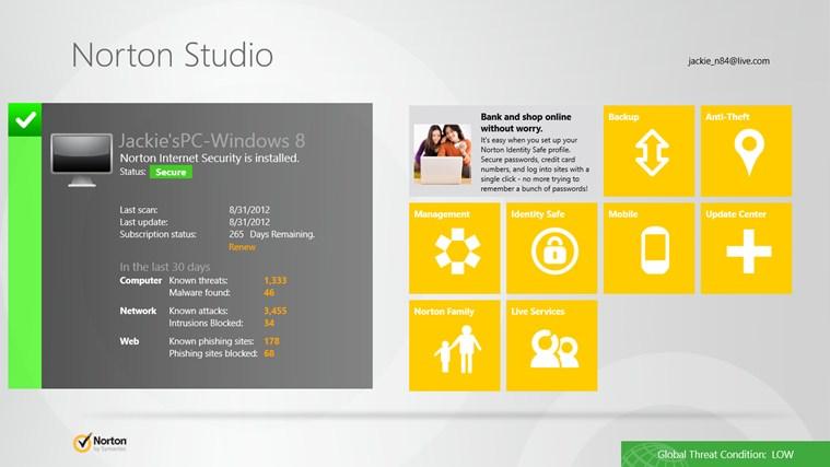 Обновилась панель управления защитными продуктами Norton Studio для Windows 8