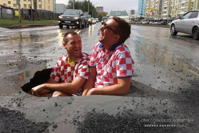 Развеселившую фанатов из Хорватии дорожную яму заасфальтировали 3