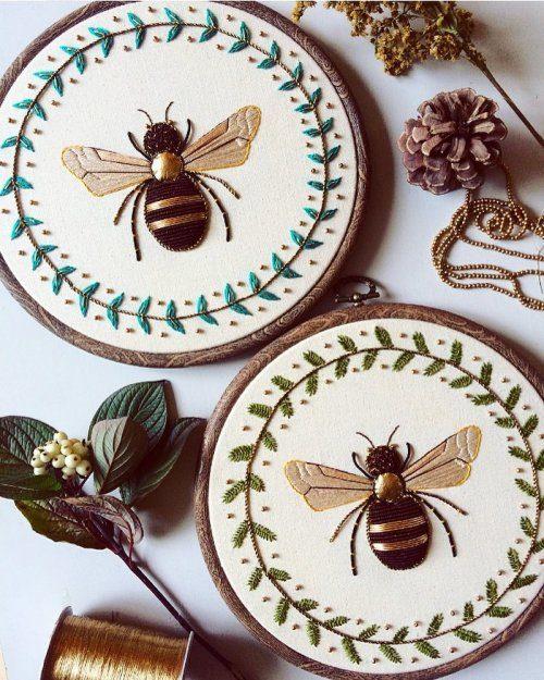 Вышитые насекомые от Хамайры…