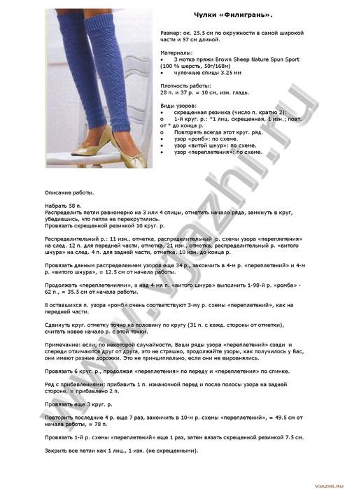 Описание вязания гетры спицами с описанием 307