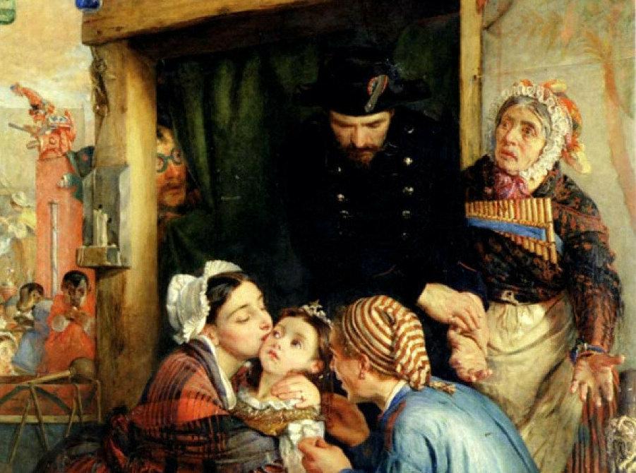 Филипп Гермоген Кальдерон «Французские крестьяне находят украденного ребенка»,  фрагмент