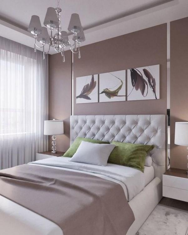 сочетание цветов в интерьере спальни светло-коричневый белый травяной