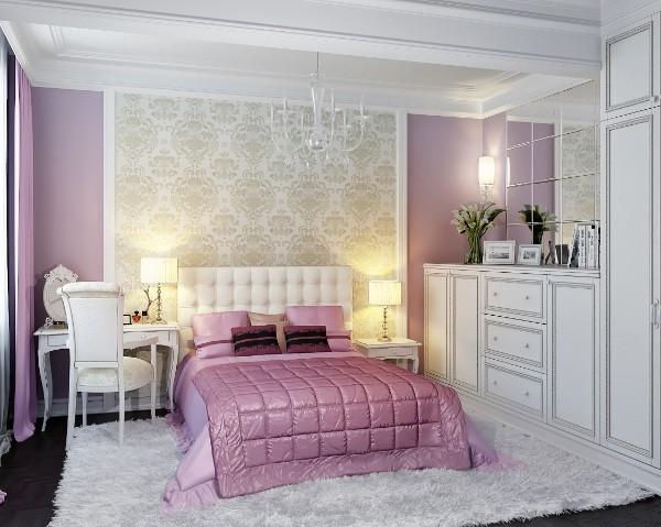 сочетание цветов в интерьере спальни розовый с белым