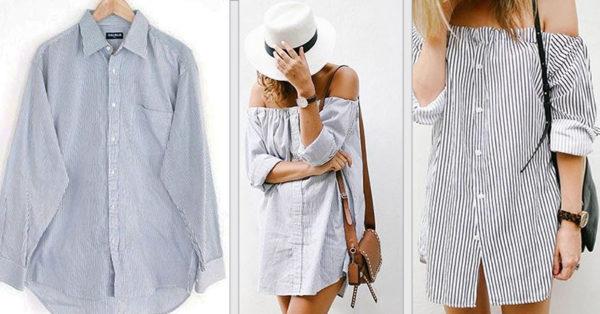 10 способов переделать мужскую рубашку в женскую модную одежду
