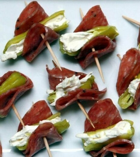 1. Творожный сыр, салями и перчик Закуски, быстро и вкусно, еда, красиво, рецепты, снэк, фото