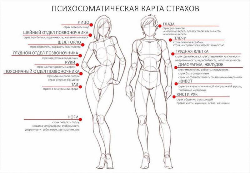 Страхи зажаты в теле. Телесная карта страхов