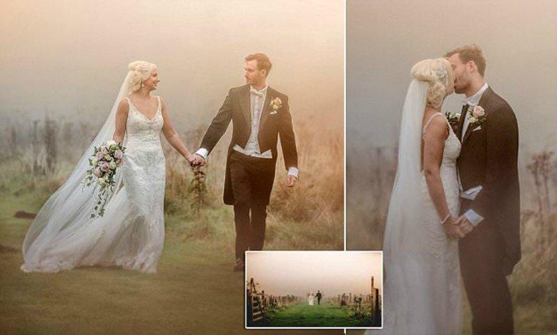 """Ураган """"Офелия"""": зрелищные свадебные фото под багровым небом Великобритании"""