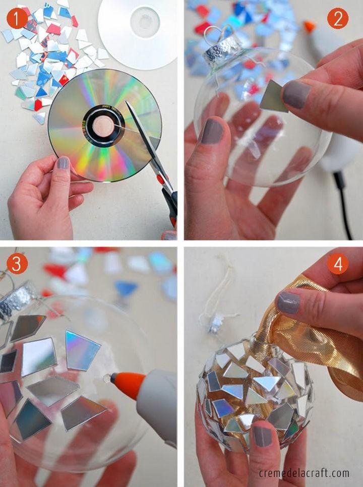 Необычные елочные украшения диск, своими руками, сделай сам