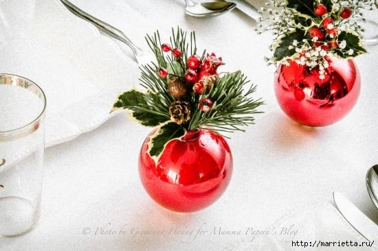 Для праздничной сервировки стола. Вазочки из елочных шаров (6) (550x366, 150Kb)