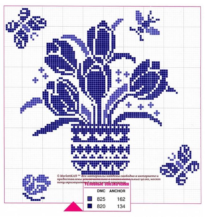 Схема вышивки в один цвет для начинающих 58