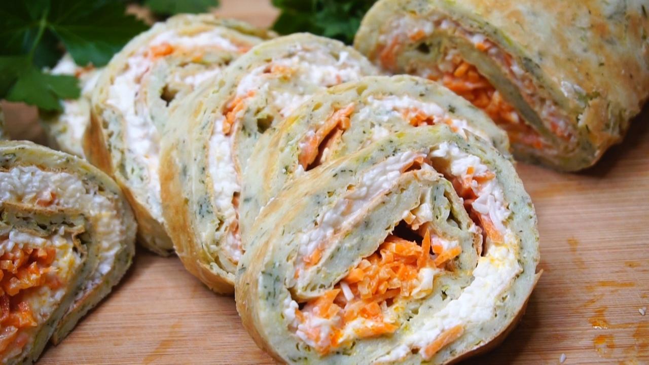 Рулет из кабачков с морковью, сыром и чесноком