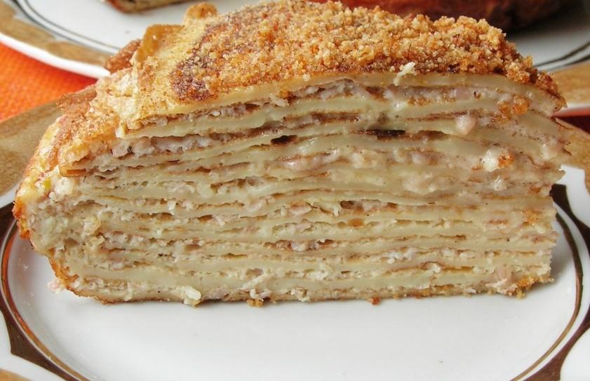Вкуснейший блинный чесночный торт