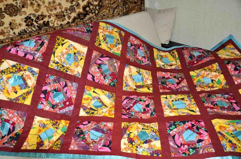 Лоскутное шитье покрывала своими руками 938