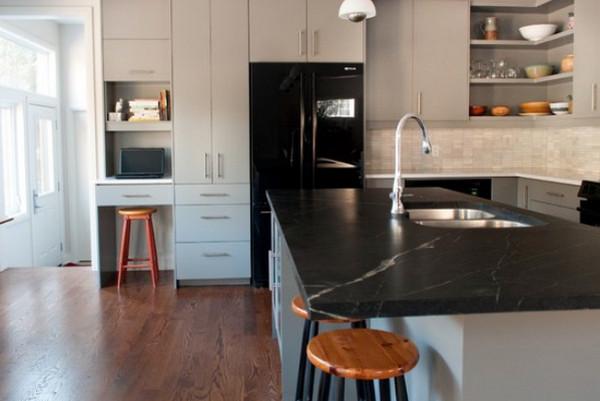 Угловой открытый шкаф на кухне