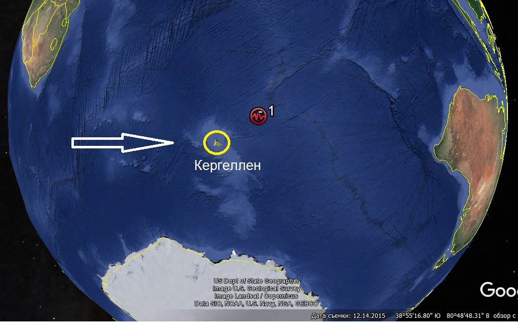 Расположение земель Антарктиды 400-800 лет назад.