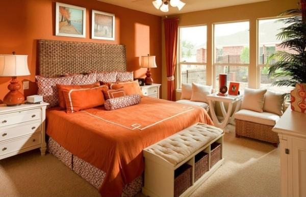 сочетание цветов в интерьере спальни насыщенный персиковый