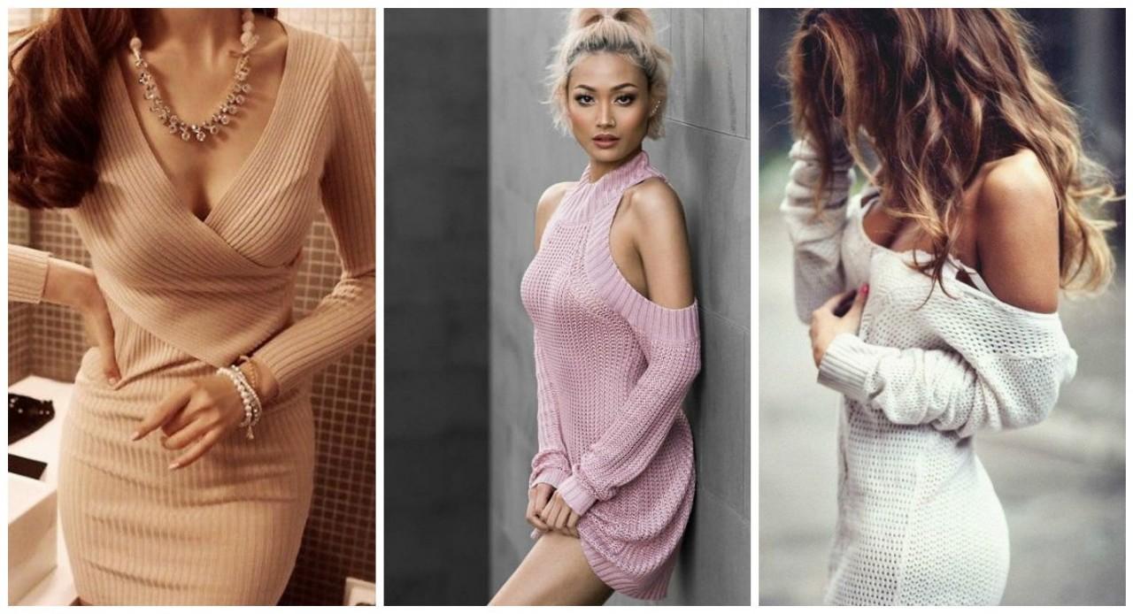 Красивым девушкам всегда жарко: 5 способов покорить мир осенью, надев вязаное платье