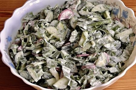 Фото к рецепту: Рецепт витаминного салата со свежей черемшой