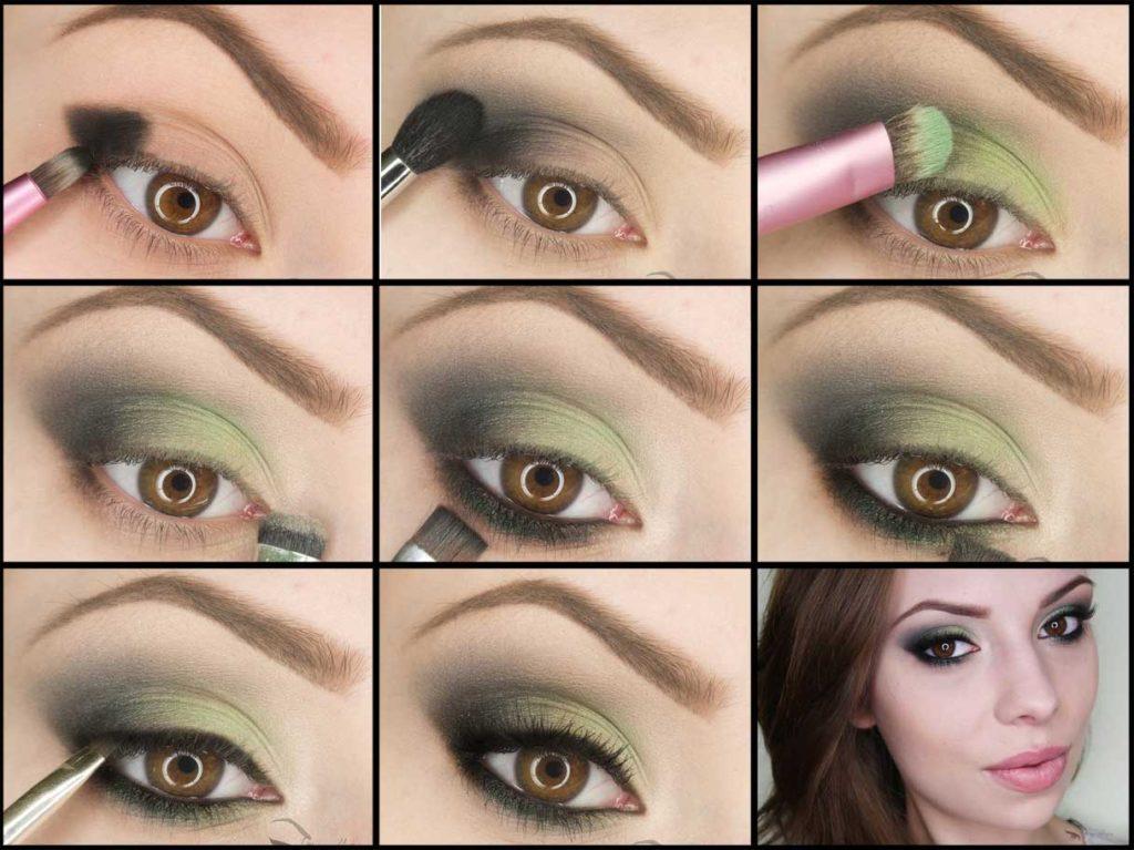 Как накрасить карие глаза тенями пошаговая инструкция фото