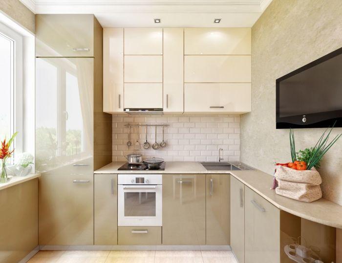 Необычная конструкция угловой кухни в маленькой кухне.
