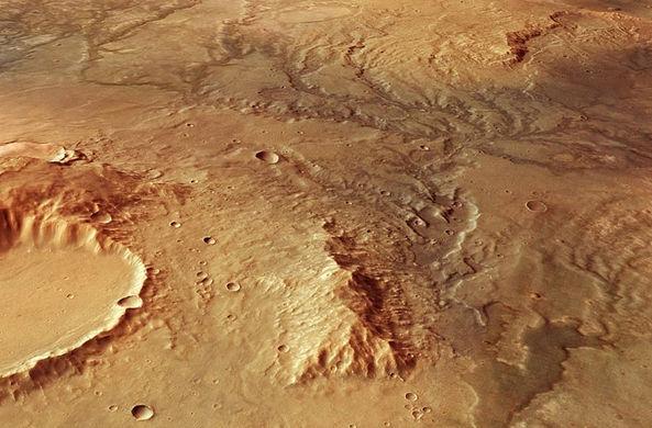 Спутник заснял русла древних рек на Марсе