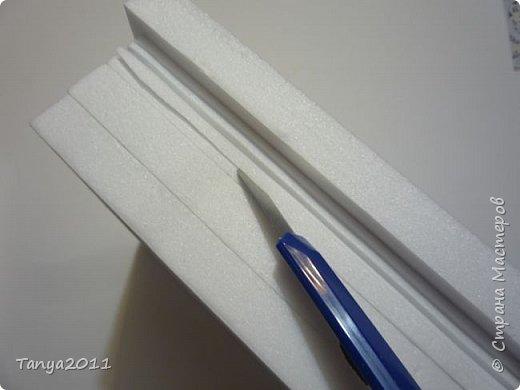 Добрый день, мастерицы! Я сегодня спешила сделать МК шкатулки-книги. Итак, нам необходимо: пеноплекс толщиной 2 см - 2/3 листа, нож канцелярский , наждачка, клеевой пистолет, краска гуашь, акриловый лак, распечатка, контур по керамике белый. фото 10