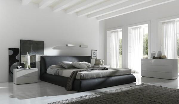 сочетание цветов в интерьере спальни белый чёрный серый