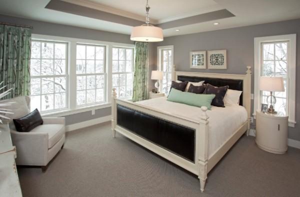 сочетание цветов в интерьере спальни серый мятный чёрный
