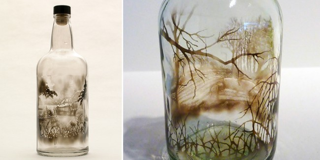 Оригинальное оформление бутылок с помощью копоти