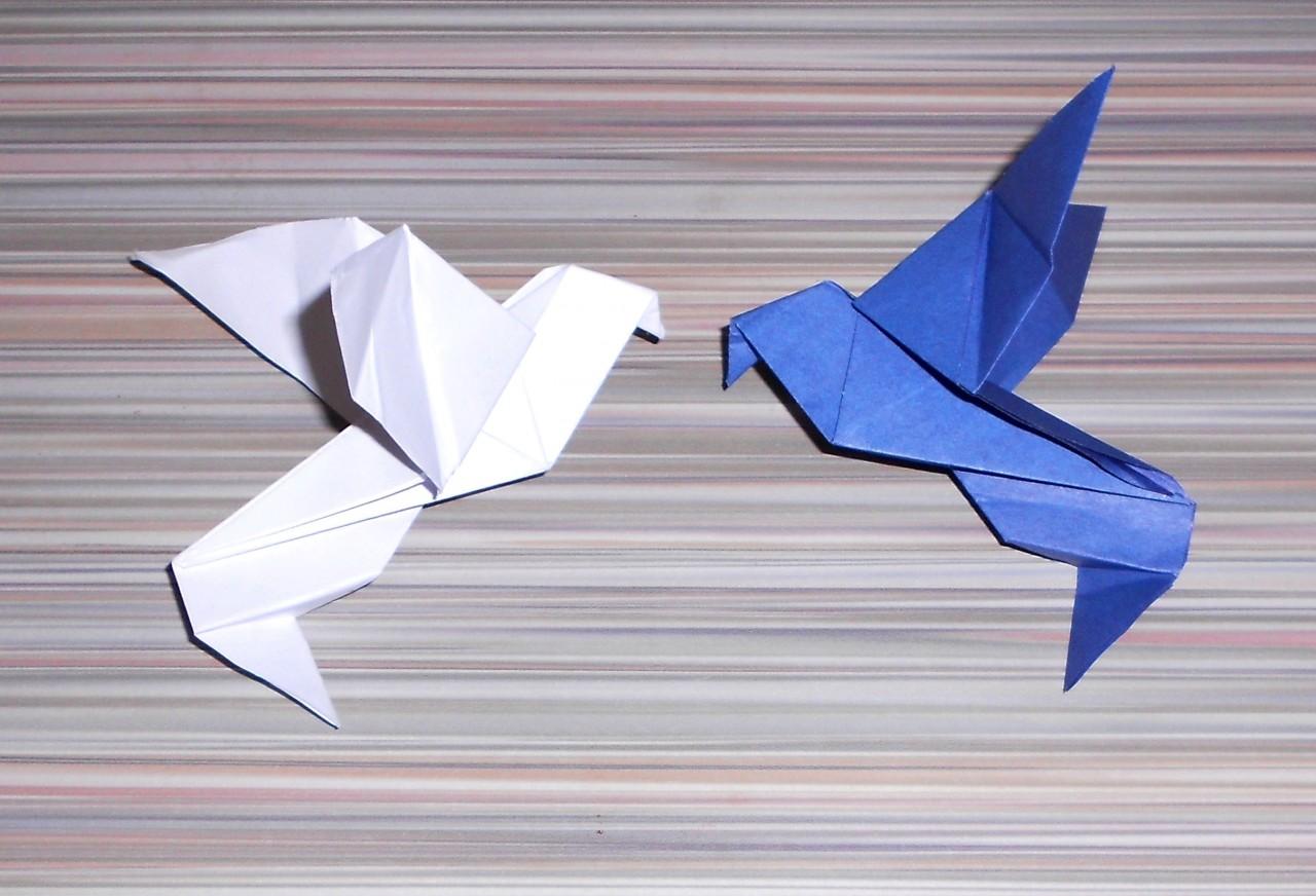 Голубь из бумаги. Делаем с ребенком бумажного голубя. Шаблон 32