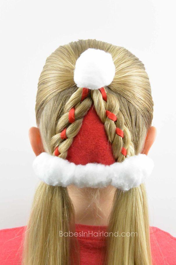 18. Колпак Санты волосы, праздник, прическа, рождество