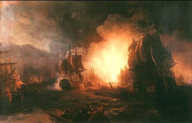 Чесменское сражение. Османский флот сгорел дотла