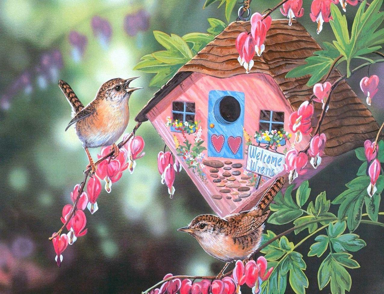 Цветы и птицы на картинах Janene Grende