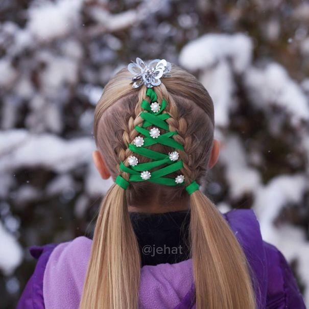 1. Рождественская елка волосы, праздник, прическа, рождество