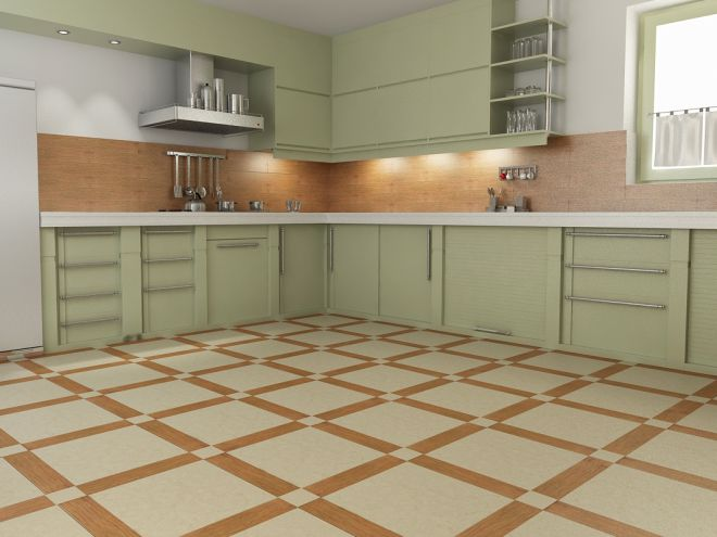 Линолеум в виде плитки для кухни