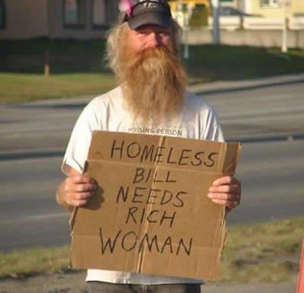 """""""Бездомному Биллу нужна богатая женщина"""" бездомные, креатив, попрошайки"""