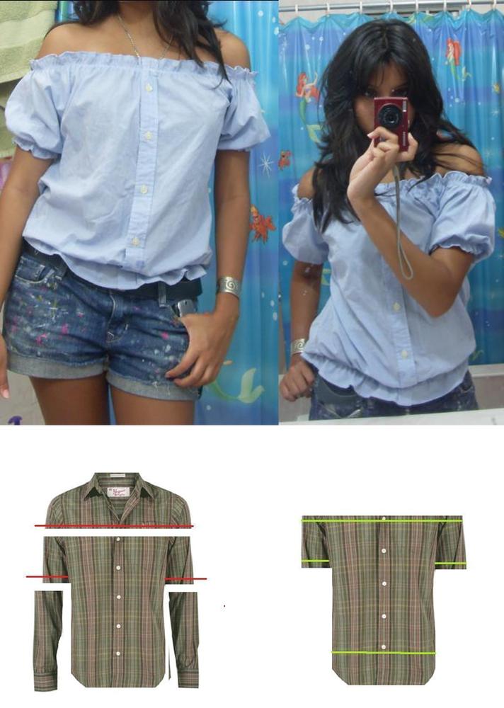 Как из мужской рубашке сделать женскую блузку
