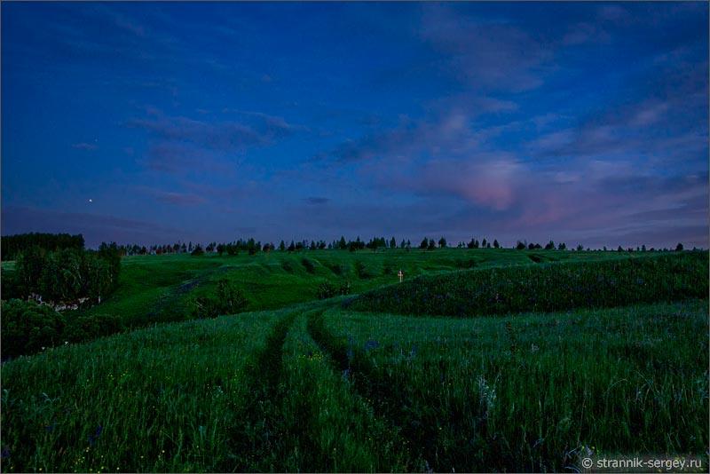 Древнерусский город городище Щучий городок на Осетре ночь