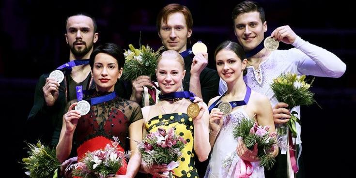 Российские пары заняли весь пьедестал на чемпионате Европы по фигурному катанию