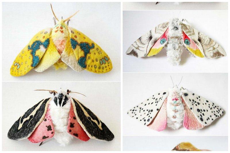 Окита Юми (Okita Yumi) живет в Северной Каролине, США. Она создает бабочек и других насекомых из текстиля. Раскрашивает их вручную, украшает мехом и вышивкой бабочки, искусство, красота, рукоделие, талант